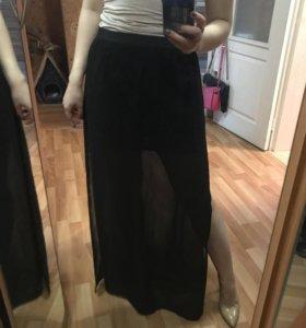 Полупрозрачная юбка в пол