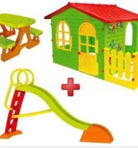 Садовая детская площадка, домик, горка, столик