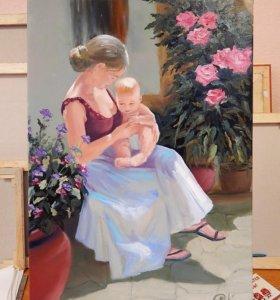 """Картина маслом,,Девушка с младенцем"""""""