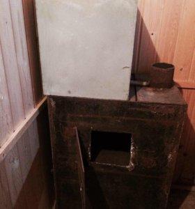Печка для бани с баком для горячей воды