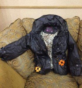 Куртка удлиненная с  капюшоном, поясом /kekedou