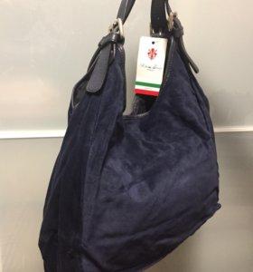 Новая кожаная итальянская сумка-мешок