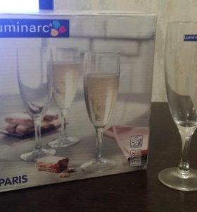 Новые бокалы для шампанского 6 шт