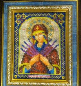 Картина бисером.Икона Богородица Семистрельная.
