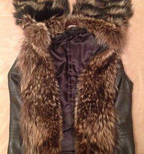 Куртка - жилетка, натур.мех, натур.кожа