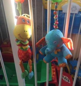 Игрушки прищепки. Жирафик и слоник.
