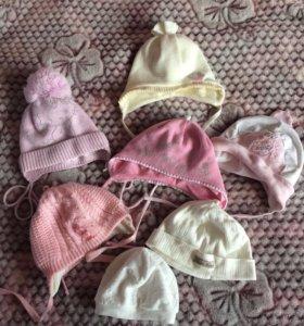 Шапочки на девочку до 8-9 месяцев