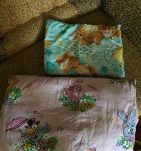 2 детские подушки,1 пододеяльник,2 одеялка