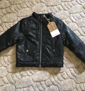 Новая кожаная куртка, размер 98-104