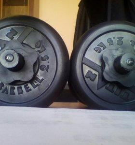 Две новые гантели Titan Barbell по 15,5 кг.