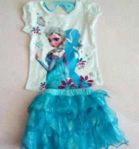 Комплект футболка и юбочка для девочки 4-5 лет