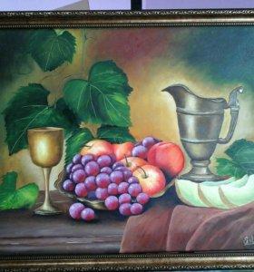 Картина маслом натюрморт с виноградом