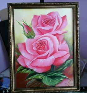 Картина маслом нежные розы
