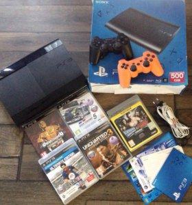 Sony PS 3 Slim 500gb+2 джойстика и 5 игр