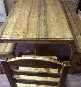 Стол и две лавки бонус два стула