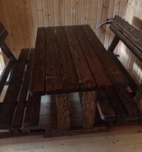 Стол и две лавки