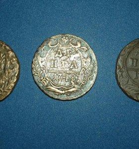 Монета денга 1748 г.