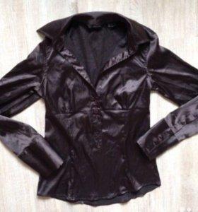 Рубашка Блуза женская атласная коричневая в о/с S
