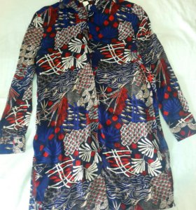 Новая удлиненная рубашка S (36) 100% вискоза