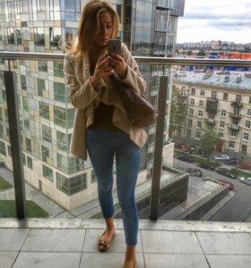 Пиджак-пальто Бежевое с мехом
