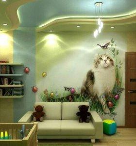 Роспись стен в интерьере,детских комнатах,офисах