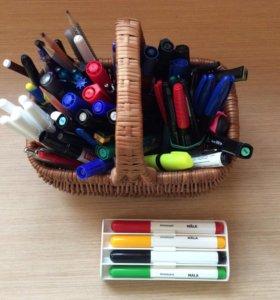 Фломастеры, выделители, ручки, карандаши и пр.