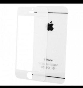 Защитное стекло iPhone 5 Diamond белое перед/зад