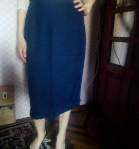 Шерстяная юбка синяя