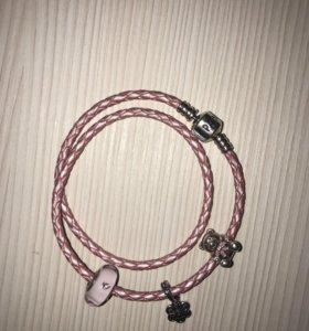 Браслет кожаный Pandora розовый