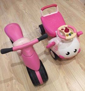 Каталка-машинка-самокат для девочек.