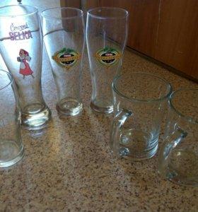 Пивные бокалы и рюмки