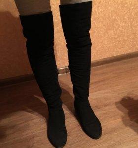 Сапоги ботфорты черные