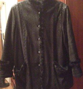 Куртка кожаная утеплённая р.62