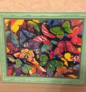 Картина. Алмазная Мозаика. Бабочки.