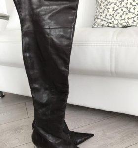 Сапоги-Ботфорты кожаные коричневые Gode р-р 37