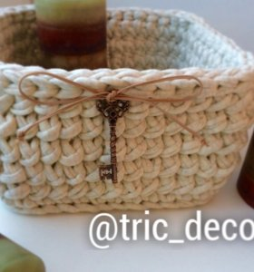 Декоративная корзиночка из трикотажной пряжи