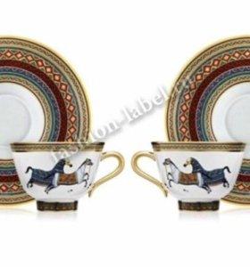 Фарфор Hermes, сервизы, чайные пары, тарелки