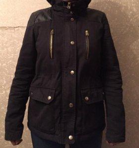 Парка TOPSHOP женская темно-синяя с капюшоном б/у