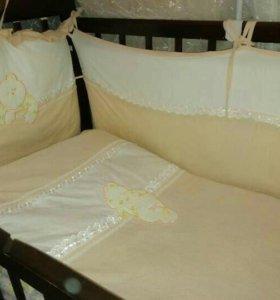 Матрас+ бортики+ одеяло+постельное белье