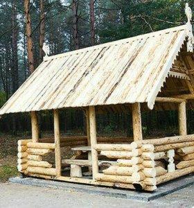 Монтаж срубов бань домов