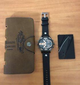 Часы diesel brave + портмоне+ ножик кредитка