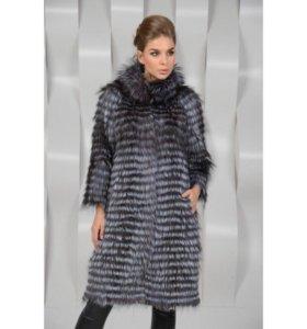 Кашемировое пальто из чернобурки