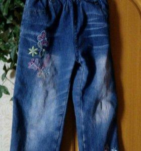 Брюки джинсов. На флисе