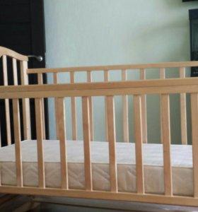 Кроватка детская с поперечным маятником + матрас
