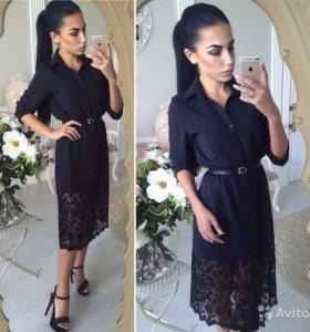 Платье -рубашка с ажурным кружевом внизу