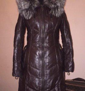 Пуховик кожа пух куртка пальто