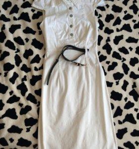 Джинсовое белое платье