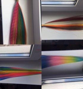 Огромный хвост цветных прядей для наращивания