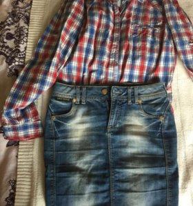 Рубашка Zara,и джинсовая юбка