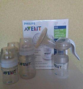 Молокоотсос Philips Avent +3 бутылочки Avent
